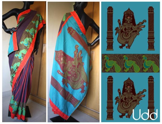 saraswati with peacock & stripe patli