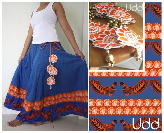 blue skirt with kalamkari peacocks