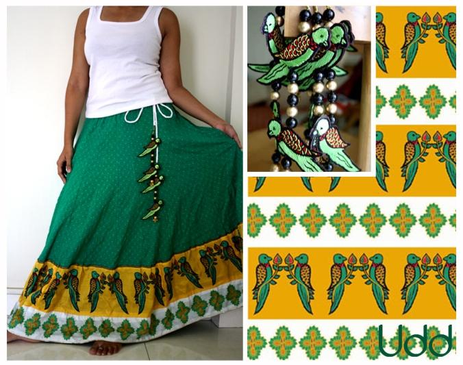 green skirt with kalamkari parrots