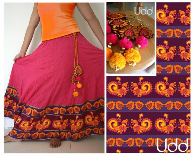 pink skirt with kalamkari birds