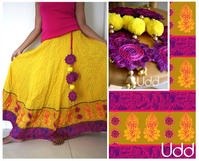 yellow skirt with laxmi and blooming lotus