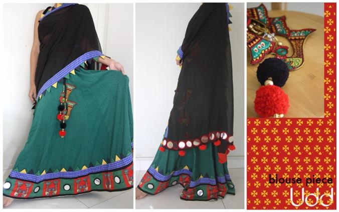 parrot with mirror work- half saree
