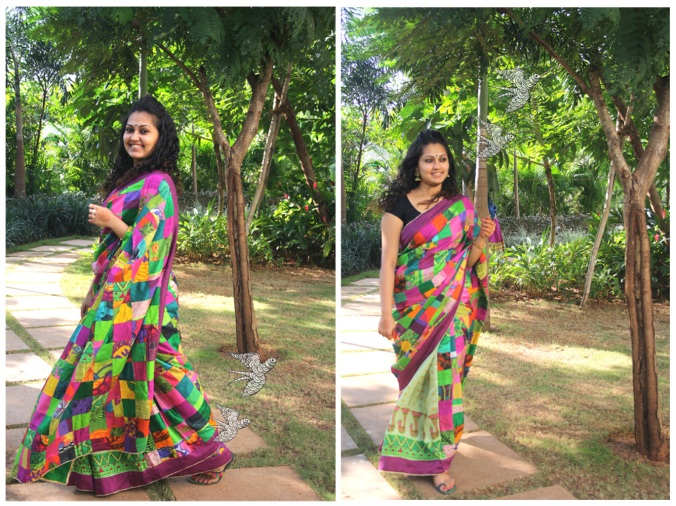 silk patli pallu patch work saree