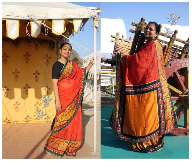 Kutch work with kota-silk saree