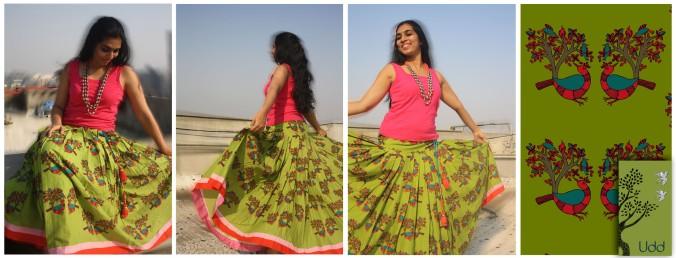Vrindavan Skirt 6 - Singing Birds