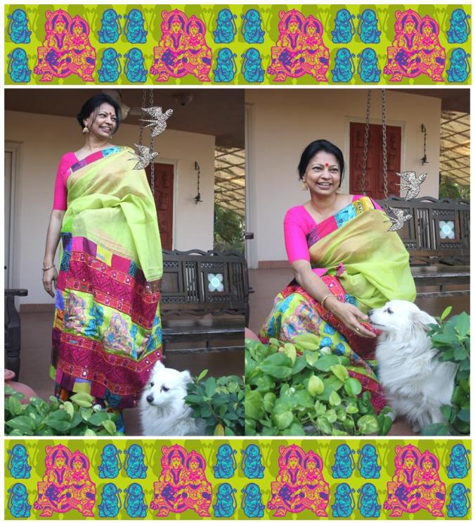 patch work with kutch work and Ram-Sita pallu
