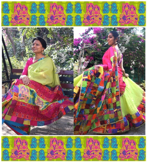 patch work half saree & saree- lime with fuschia