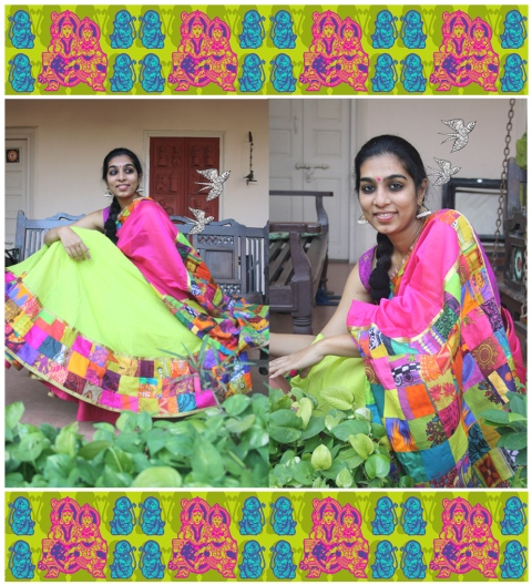 patch work-half saree